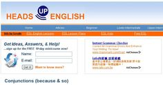 Welcome to Heads Up English. Here you'll find complete ESL lesson plans, ESL materials, and most everything you need for beginners, lower intermediate, upper intermediate, and advanced English students. The free materials and printables are real, relevant, and readily applicable - no printables or activities which practice English just to practice English.