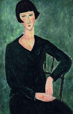 MODIGLIANI - Mujer sentada con vestido azul 1918