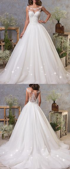 Junoesque Tulle Bateau Neckline A-Line Wedding Dress With Lace Appliques
