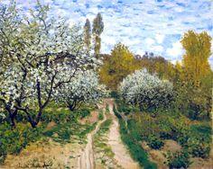 Spring-Trees in Bloom - Claude Monet, 1872