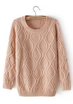 Pink Geometric Print Round Neck Cotton Blend Sweater