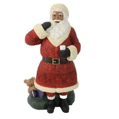 African American Santa Claus with Cookie Figurine