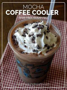 Dairy Free Mocha Coffee Cooler - raw almonds, cold strong brewed coffee, cacao powder, vanilla extract, Celtic sea salt, vanilla liquid stevia (sub regular), toppings (coconut whipped cream [would omit], cacao nibs)