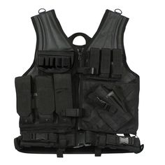 Cross Draw Tactical Vest - Heavyweight Polyester Mesh Construction - 3 Ammo Pouches - 3 Pistol Magazine Pouches - M.O.L.L.E. Attachments on back - Padded Shoulders - Holster (Fits most medium frame pi