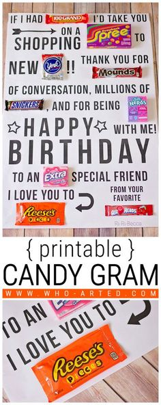 Candy Gram Birthday Card {printable} - Who Arted?