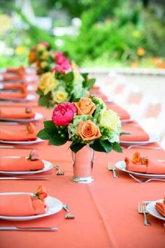 bright brunch table setting