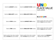 """Here is a fun way to use a card game you may already have at home, UNO, to help your child practice place value skills. Pull a task card (ex. """"Build the largest even number."""") and pull UNO cards to help accomplish the task. Free materials for the game are provided on this site."""
