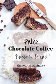 This healthy grain-free, gluten-free and paleo chocolate coffee banana bread is easy to make, meal prep and serve--and it's so tasty! Banana Bread Ingredients, Paleo Banana Bread, Paleo Chocolate, Chocolate Coffee, Antioxidant Smoothie, Meal Planning Board, Banana Coffee, Nut Allergies, Fruit And Veg