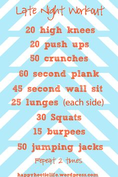 Easy at home workout for those nights you just need to get some activity in!