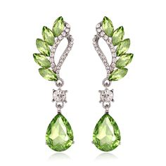 LimeGreen Drop Crystal Earrings Fashion Jewelry Vintage Cubic Zirconia Earrings  #UniqueJewells #DropDangle