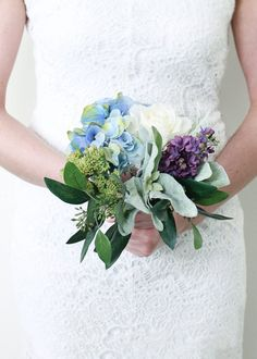 Faux Hydrangea, Lilac & Rose Bouquet in Blue and Purple Tall Artificial Wedding Bouquets, Silk Wedding Bouquets, Bride Bouquets, Bridesmaid Bouquet, Floral Bouquets, Lilac Bouquet, Hydrangea Bouquet, Blue Hydrangea, Lilac Wedding Flowers
