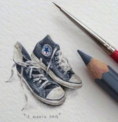 """Lorraine Loots, an expert at creating tiny art """"for ants,"""" is back with a new series of mind-bogglingly small (and beautiful) paintings of animals, space, and her favorite books. Lorraine, Mini Drawings, Art Drawings, Illustration Arte, Mini Paintings, Miniature Paintings, Art Plastique, Beautiful Paintings, Ants"""