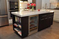 Love the book shelf for cookbooks and the bar fridge