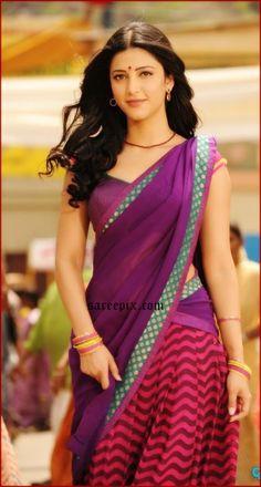 Beautiful Blonde Girl, Beautiful Girl Indian, Most Beautiful Indian Actress, Beautiful Saree, Beautiful Bride, South Indian Actress Photo, Indian Actress Photos, Indian Actresses, Shruti Hassan Saree