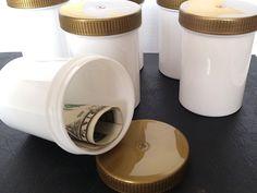 8 JARS 2 3/4 tall 3 oz White Plastic Jar Gold Lid Herb Spices K5314 DecoJars USA #DecoJars