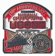 Uconn Huskies Men's & Women's Basketball 2004 National Champs 10th Ann. Pin