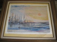 William Verdult Yacht Harbor Seascape Lithograph A/P Print, Signed By Verdult