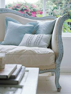 Painted Furniture Idea Box by Laura Smith. Shabby Chic couch=love it. makes this style couch not look so stiff & formal. invites you right over to sit down. Shabby Chic Couch, Shabby Chic Furniture, Painted Furniture, Painted Sofa, Blue Furniture, Asian Furniture, Rustic Couch, Furniture Chairs, French Furniture