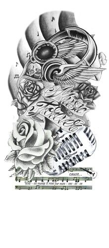 Music forever tattoo design