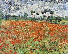"This is ""Field of Poppies"" by Vincent van Gogh 1890 . As a Remembrance Day art project I wanted Grade 3 to try and recreate this composi..."