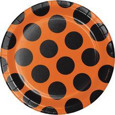 (96/case) Playful Patterns Orng/Blk Dinner Plate