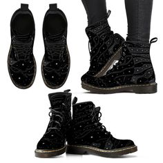 Black Abstract Stars Women's Suede Boots