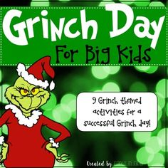 """Grinch Day! For Big Kids This product includes everything that you need to have a successful Grinch  Day in your 5th grade classroom. This product includes reading, writing and math activities connected to 5th grade Common Core Standards. This Product Includes:- Grinch Character Traits- Compare and Contrast the Grinch- Grinch Synonyms and Antonyms - 3 Writing Activities - Grinch Word Problems- Message from the Grinch Math Problems *The message from the Grinch says """"Merry Grinchmas"""" it is…"""