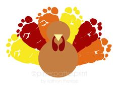 Turkey Thanksgiving Decoration - Baby Footprint Art - Personalized Kids Thanksgiving Wall Decor  - Orange, Red, Yellow, Brown Fall Gift. $30.00, via Etsy.