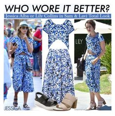 """Who Wore It Better?Jessica Alba or Lily Collins in Sam & Lavi Total Look"" by kusja ❤ liked on Polyvore featuring Sol Sana, WhoWoreItBetter, jessicaalba, lilycollins and wwib"