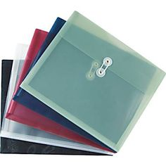 Staples® Poly Envelopes w/ Side Opening, Letter, Assorted, 5/Pack  ---   stick one to the front inside cover of binder to store random papers/papers that need to be hole-punched and filed later