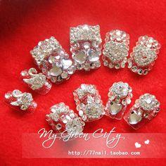 Aliexpress.com : Buy Married series ! full rhinestone swan lake bride nail art patch nail false nail tips on Jessie's shop. $18.90