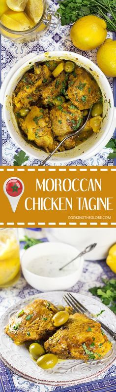 This Moroccan Chicken Tagine is bursting with flavor! Infused with saffron and flavored with preserved lemons, it's guaranteed to become your favorite! | cookingtheglobe.com
