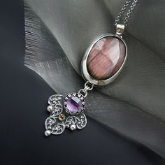 Under The Eyelid Of  Under The Eyelid Of The Night | Silver Purple Labradorite & Amethyst Necklace - product images  of SCHJ  www.silverchamber...