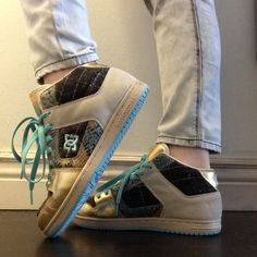 DC Manteca 2 Mid SE Ladies Shoes Colors include teal/turquoise/Aqua, tan, black and gold. plaid and snakeskin patterns. High tops. These shoes are seriously works of art. Only worn twice for a few hours indoors. Like new condition minus the barely noticeable scuffs pictured. It pains me to part with these because they're so beautiful, but I never wear them. Size 10 Women's With purchase of this item, get any item in my closet $10 or less (marked with ✨) for 50% off! Ask me for details:) DC…