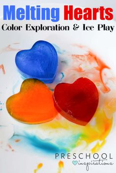 science Melting hearts color exploration and ice play - what a fun and easy way to explore math, science, and fine motor skills Science For Toddlers, Lesson Plans For Toddlers, Easy Science, Kids Learning Activities, Preschool Science, Color Activities, Preschool Activities, Science Experiments, Indoor Activities
