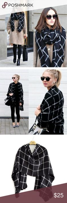 HP BLACK+WHITE Plaid Striped Blanket Scarf Super soft blanket scarf shawl PERFECT for Autumn/Winter. Made of acrylic fiber. Length*Width = 200x85cm. Style it in various ways for a chic look! Unbranded from Boutique- not from listed brand. Zara Accessories Scarves & Wraps