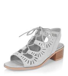 Teens Pale Blue Laser Cut Out Ghillie Heels | New Look