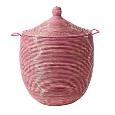 Senegalese Storage Baskets - Pink | Serena & Lily  ..back entry winter storage