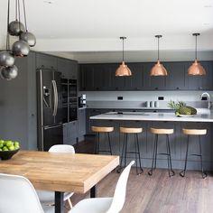 This stunning dark kitchen is complemented by the three stunning Brooklyn copper pendant lights! Industrial Kitchen Design, Kitchen Room Design, Home Decor Kitchen, Interior Design Kitchen, New Kitchen, Home Kitchens, Industrial Metal, Industrial Style, Dark Kitchens