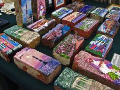 Paintings on Old Bricks jigsaw puzzle Painted Bricks Crafts, Brick Crafts, Painted Rocks, Brick Projects, Painted Houses, Hand Painted, Charleston Sc Things To Do, Crafts For Kids, Arts And Crafts