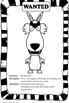 Fairytale Unit--Lots of Fun, loads of templates, story starters, WANTED posters, interactive game, and much more! The graphics are fun, too! Mostly black and white--economical printing. Grades 2-4