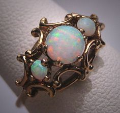 Antique Victorian Australian Opal Pearl Ring Vintage Wedding Art Deco