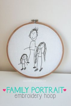Family portrait children's art · family drawing in an embroidery hoop Portrait Embroidery, Embroidery Hoop Art, Embroidery Stitches, Embroidery Patterns, Homemade Birthday Gifts, Birthday Gifts For Kids, Homemade Gifts, Homemade Christmas, Homemade Mermaid Costumes