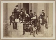 As a boy, Akeley owned a taxidermist's manual written by Professor J.W.P. Jenks of Brown University, Providence, Rhode Island. The picture shows Jenks' Taxidermy class of 1875 on the steps of the Natural History Museum.