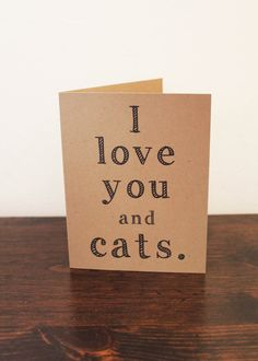 I Love You and Cats Card Valentine's Day card Love card boyfriend card girlfriend card husband card wife card Cats card