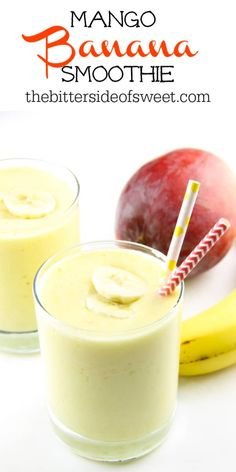 Easy Mango Banana Smoothie made with 4 ingredients! So smooth and creamy this fresh fruit smoothie is the perfect healthy snack. | The Bitter Side of Sweet Watermelon Smoothies, Strawberry Banana Smoothie, Healthy Smoothies, Smoothie Recipes, Homemade Desserts, Easy Desserts, Dessert Recipes, Breakfast Recipes, Dinner Recipes