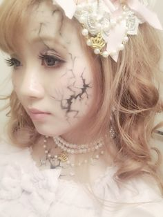 Cracked porcelain doll. Halloween makeup. @Julie Forrest Bush!