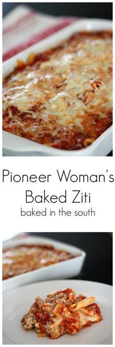 Pioneer Woman's Baked Ziti More from my siteSo easy! Pioneer woman baked ziti go to food network! Arroz Con Gandules, Food Network Recipes, Cooking Recipes, Pasta Bake Recipes, Baked Pasta Dishes, Pasta Recipes For A Crowd, Casserole Recipes, Cooking Ribs, Quiche Recipes