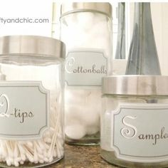Never thought of using one of these canisters for samples! Genius! Printable Bathroom Container Labels #printable #labels. bathroom