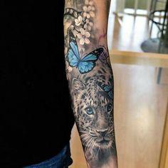 Tiger tattoo butterfly art